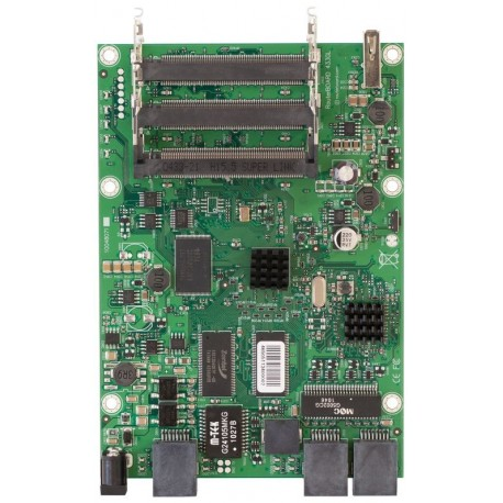 Mikrotik RB433GL - Has three miniPCI slots, three Gigabit Ethernet ports and one USB port for storage or a 3G modem.